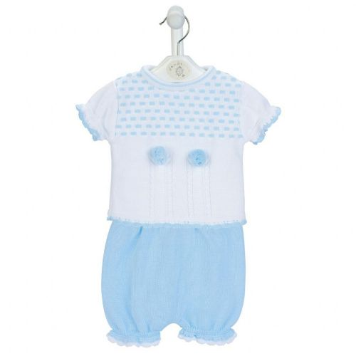 New Gorgeous Baby Boy Blue Dash Knitted Top Bloomer Set